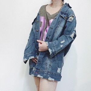 NWT Oversized LONG distressed denim jacket